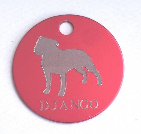 PERSONALISED STAFFIE DOG ID TAG AVAILABLE IN 3 SIZES AND 9 COLOURS ENGRAVED FREE